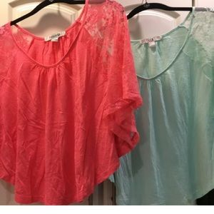 FOREVER 21 Two Lace Dolman Sleeve Tops Small